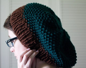 knit hat - extra slouchy green seed stitch, hand knit