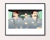 The Office - Branch Wars - Dwight, Jim, and Michael with Mustaches - 16x9 Watercolor Digital Print