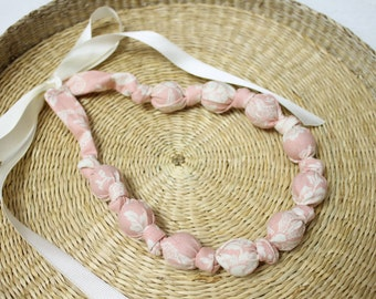 Fabric Necklace,Teething Necklace, Chomping Necklace, Nursing Necklace - Floral Coral Pink