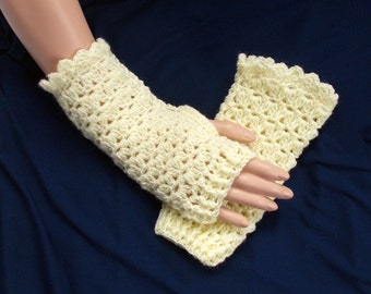 Crochet fingerless gloves - Ivory gloves - Crochet mittens - Short gloves - Evening gloves - Lace gloves - Half finger gloves - Gift for her