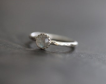 Labradorite Ring, Stacking Ring, Solitaire Ring, 6mm, Bezel Set, Sterling Silver, Hammered Band,  MADE TO ORDER
