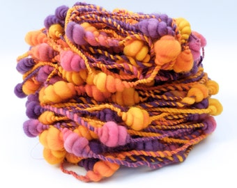 Handspun Art Yarn Coils , Bulky, Hand Dyed Merino Wool  in Purples and Oranges