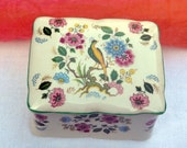 Vintage Staffordshire Porcelain Box - Old Foley/Kent, England - Chinese Rose Pattern - 1950's - Stunning!