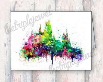 Hogwarts Castle Note Cards, Greeting Cards, Christmas Card, Birthday Card, Watercolor Splatter, Geekery, Nerdery, Harry Potter Cards