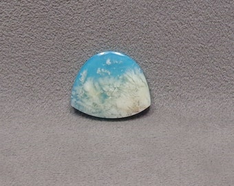 REGENCY PLUME AGATE Backed With Reconstituted Turquoise Doublet Cabochon