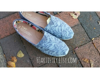 Painted Lace Toms. Custom Airbrushed Toms. Wedding Toms