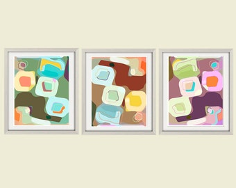 abstract art print set abstract print poster print colorful wall art modern print retro art contemporary art large wall print giclee art