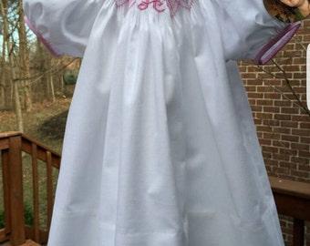 White Smocked Newborn Dress with Initial---Newborn through 4T