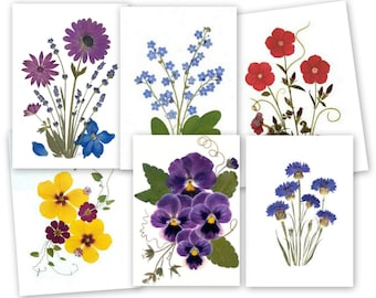 Pressed Flower Cards - 6 assorted notecards - #078