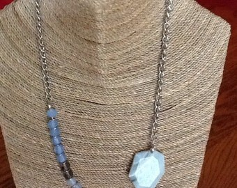 Asymmetrical blue beaded necklace with large jasper focal
