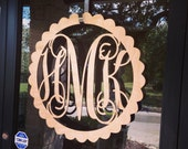 """30"""" Beautiful Wooden Monogram, Wall Hanging, Wooden initials in Scalloped Border, Photo Prop, Nursery decor, Large Wood Wall Art"""