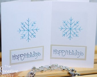 Hand Embroidered Blue Snowflake Happy Holidays Christmas Card (set of 10)
