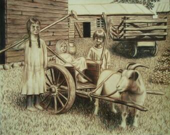 Young Pioneers - Rustic art - Folk art - Original drawing - American art - Colored pencil drawing - Home decor - Wall decor - Farm artwork
