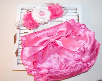 Pink Satin Bloomer and Infant Elastic Headband