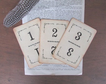 Table Numbers Vintage Playing Cards Vintage Wedding Decor 1 Through 15