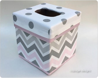 Pink and Gray Chevron TISSUE BOX COVER - Kleenex Box Cover - Baby Nursery Decor - Custom Tissue Box Cover - Made-to-Order