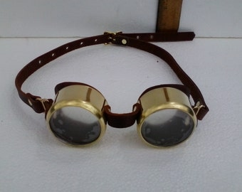 Brass and leather steampunk goggles
