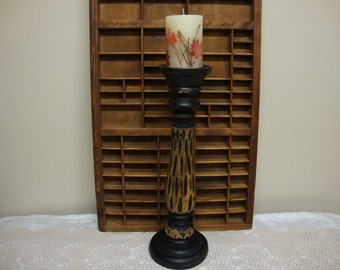 "Large Carved Wood Candle Holder 18"""