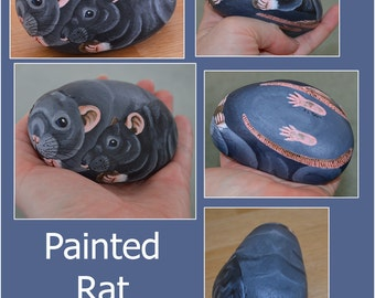 Hand Painted Stone 'Friends' Two Rats