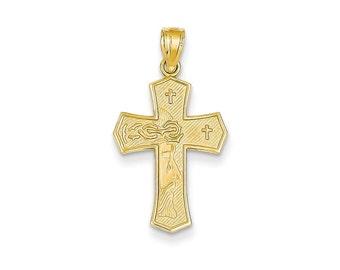 14k Reversible Ecce Homo Cross Pendant New Religious Charm Yellow Gold