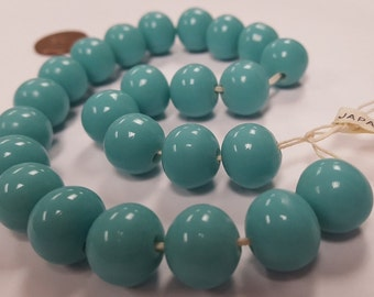 24 Vintage Japanese Cherry Brand Glass Green Turquoise 12mm. Round Beads 4687