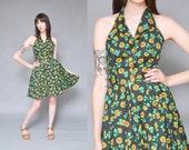 50s SUNFLOWER floral printed cotton mini dress S yellow black button up halter top circle skirt rockabilly high waist mini sun dress