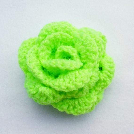 Crochet Green Hair : green crochet rose flower hair bobble pony tail band hair tie hair ...
