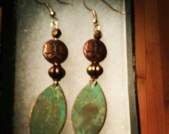 Beautiful Green Patina Metal Leaf Earrings with Butterfly accents