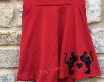 Disney Skirt Disney World or Disney Land Mickey and Minnie Red Circle Skater Skirt. Disney World Outfit. Disney Land outfit