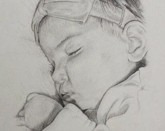 Custom black and white portrait in pencil
