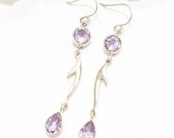 Double Lilac Amethyst 925 Silver Earrings