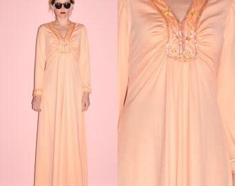 Vintage 60s Peach Orange Satiny Sequin Beaded Gathered Formal Empire Hostess Party Maxi Dress