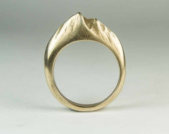 Bronze Mountain Ring, Hand Carved- made to order