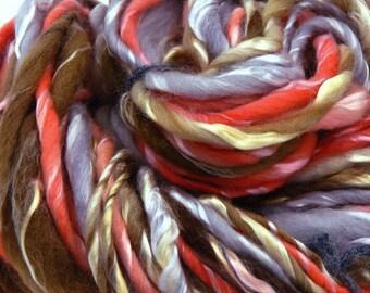 Taffy Pull - 66yds Bulky Merino & Tencel Thick and Thin Slubby Art Yarn / Textured Art Yarn / Handspun Thick and Thin Yarn