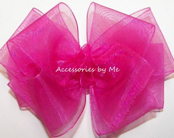 Pink Hair Bow, Fuchsia Sheer Hairbow, Hot Pink Organza Clip, Baby Girls Toddler Headband, Flower Girl Party, Pageant, Birthday, FREE US Ship