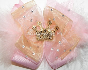 Glitzy Pink Gold Hair Bow Glitter Tiara Organza Marabou Feathers Rhinestones Baby Girls Toddler Accessories Clip Pageant 1st Birthday Party