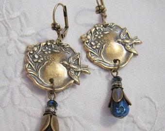 SALE Art Nouveau Victorian Vintage Style Bird Flower Dangle Earrings AB Metallic Blue Black Glass Bead Earrings Ox Antique Brass Lever Back