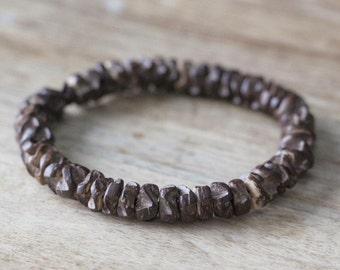 Cylinder Men's Beaded Bracelet Brown Wood