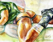 """PRINT of Original Art Work Watercolor Painting Gay Interest Male Nude """"Contention"""""""
