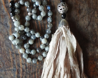 Silk tassel necklace Knotted silk necklace Boho necklace Vintage necklace Beaded necklace