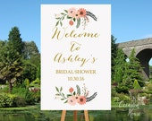 Bridal Shower Welcome Sign, Fall Bridal Shower Sign, Floral Bridal Shower Signage, Gold Bridal Shower Sign, Printable, BSWS45