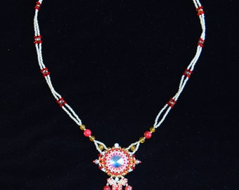 Swarovski Crystal necklace    bead weaving red and glod handmade