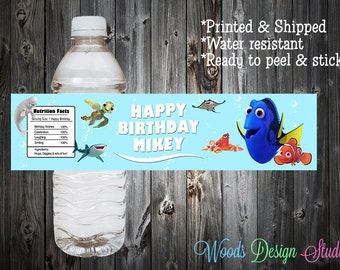 Custom // Personalized // Finding Dory Birthday Party Water Bottle Labels // Wraps // Water Resistant // Printed & Shipped