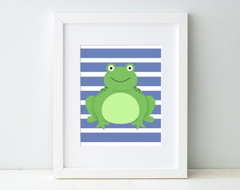 Frog Nursery Art Print, Baby Boy Blue Nursery, Children's Bedroom Decor