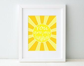 You Are My Sunshine Print, Digital Typography Art Print, Baby Nursery Children's Art