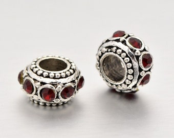 2 Pieces - Anique Silver Tone European Bracelet Style Garnet Rhinestones  Beads Charms - January Birthstone