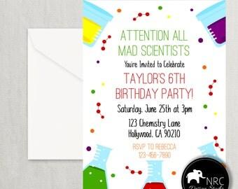 Science Party Invitation, Science Invite, Scientist Birthday, Printable Invitation,V2 | NRCDesignStudio