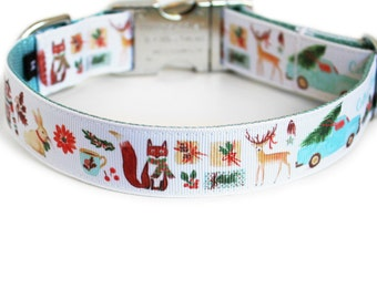 Christmas Dog Collar for Girls or Boys, Christmas Tree, Hot Cocoa, Small Dog Collar, Can Be Personalized, Gift Box- Cottage Christmas