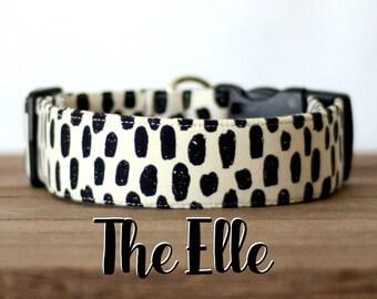 "Cream & Black Modern Geometric Dog Collar ""The Elle"""