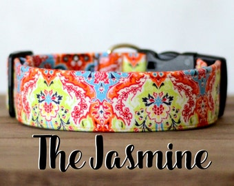 "Modern Colorful Abstract Girly Dog Collar  ""The Jasmine"""